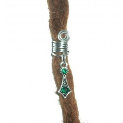 Green crystal bohemian dread bead