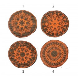 "10cm 4"" Fluo pink mandala swirly geometry patch"
