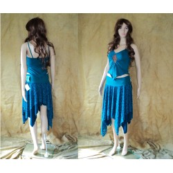 S/M Blue lace pointy gypsy elven skirt