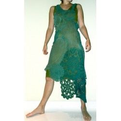 M-L Leather crochet bohemian skirt