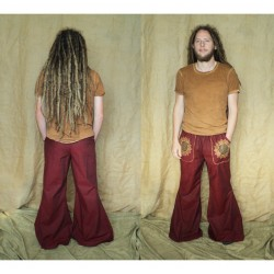 Flower of life wide legged pants with pockets.