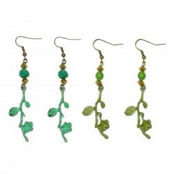 Patina leaf leaves bronze gemstone earring