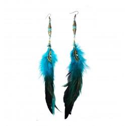 Wild turkey feather with swirly gemstone earring