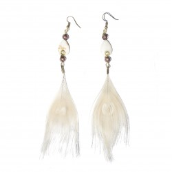 Peacock feather with swirly gemstone earring