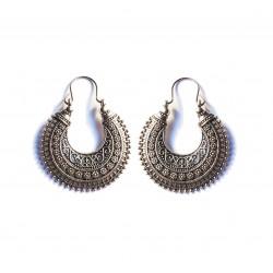 Silver ethnic earring
