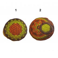 "7""/17cm Flower of life geometry medhika moon fluo UV mandala patch"