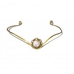Brass tiara with quartz gemstone