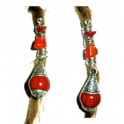 Silver plated coral turquoise ethnic dreadlock bead
