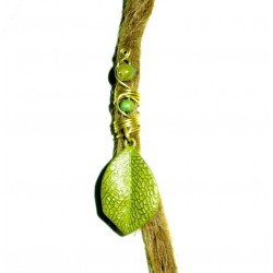 Green leaf dread bead