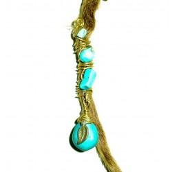 Leaf turquoise drop dread bead