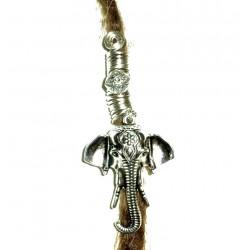 Silver plated Ganesha elephant dread bead
