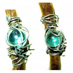 Blue glass dread bead